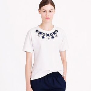 [J. Crew] Embellished Yolk Knit T-Shirt, Cream